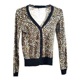 Heart Hips  Leopard Print Cardigan Size Medium